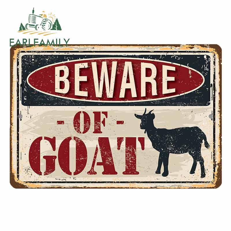 EARLFAMILY 13cm X 9cm For Metal Sign - Beware Of Goats Funny Car Stickers DIY Occlusion Scratch Motorcycle Car Bumper Decal