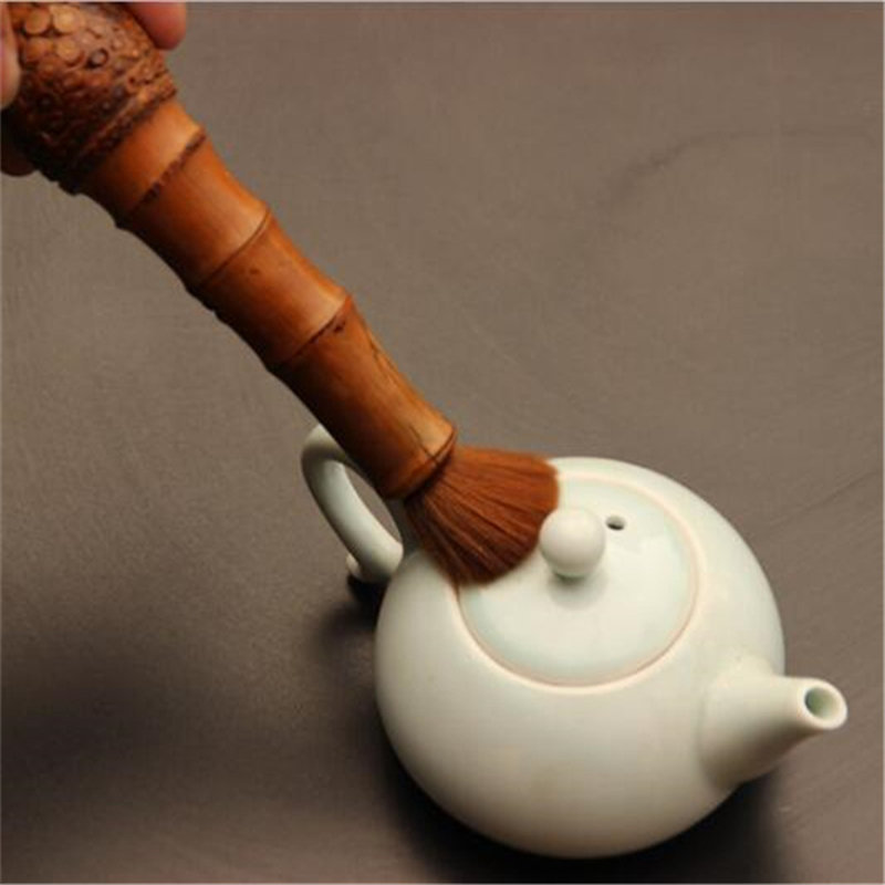 Chinese Kung Fu Tea Brush Bamboo Root Tea Spoons Handmade Rattan Pot Cover Brush Chinese Tea Ceremony Parts Teaware Set Tools