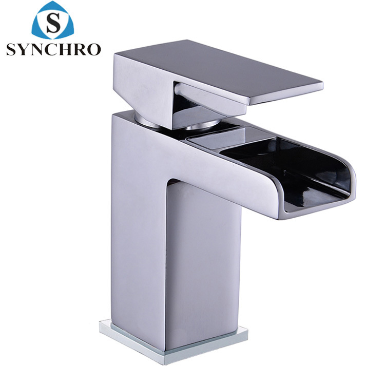 Square Waterfall Tap Face Wash Basin Faucet Mixed Cold Copper Body Tap