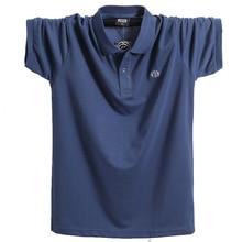 Мужская летняя рубашка поло, брендовая одежда из чистого хлопка, мужская деловая Повседневная рубашка поло с коротким рукавом, дышащая мягкая рубашка поло 5XL