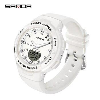 SANDA New Luxury White Fashion Sport Women's Watch Military Waterproof Multifunctional LED Digital Quartz Relogio Feminino 6005