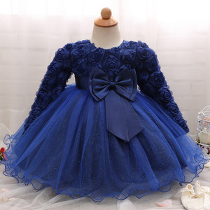 Image 3 - Vestido de manga larga de encaje para niña, vestidos de flores para bautizo, para niña, primer año, fiesta de cumpleaños, boda, ropa para bebé