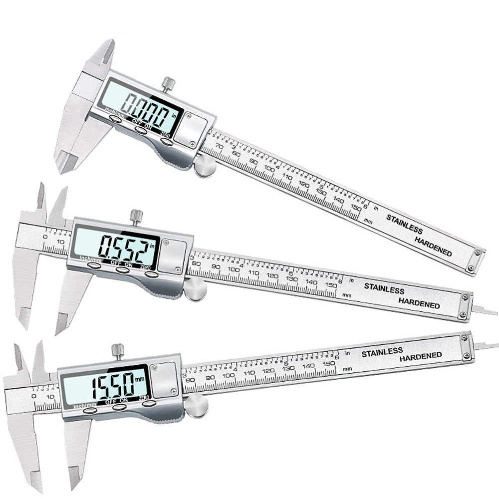 6-Inch 150mm Stainless Steel Electronic Digital Vernier Caliper Metal High Precision Micrometer Measuring Tool