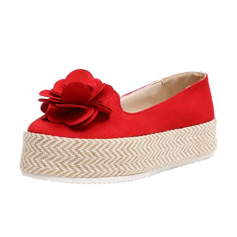 Livraison directe 2019 plate-forme florale chaussures femmes troupeau chaussures femme décontractées printemps baskets sans lacet en cuir daim dames mocassins