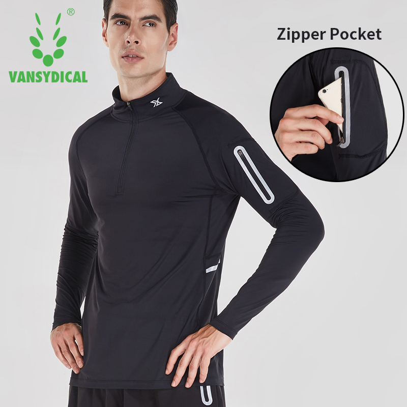 VANSYDICAL sport t shirt men long sleeve sportwear male breathable dry fit zipper workout shirt running gym clothing tops tee