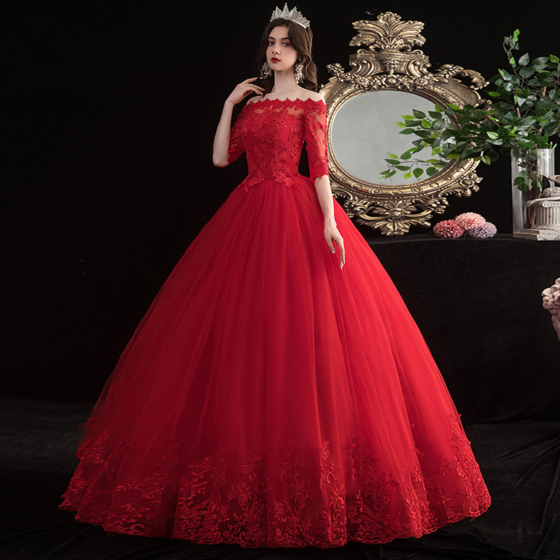Popodion Red Wedding Dress Lace Bride Dress Simple Sexy Wedding Dress WED90534