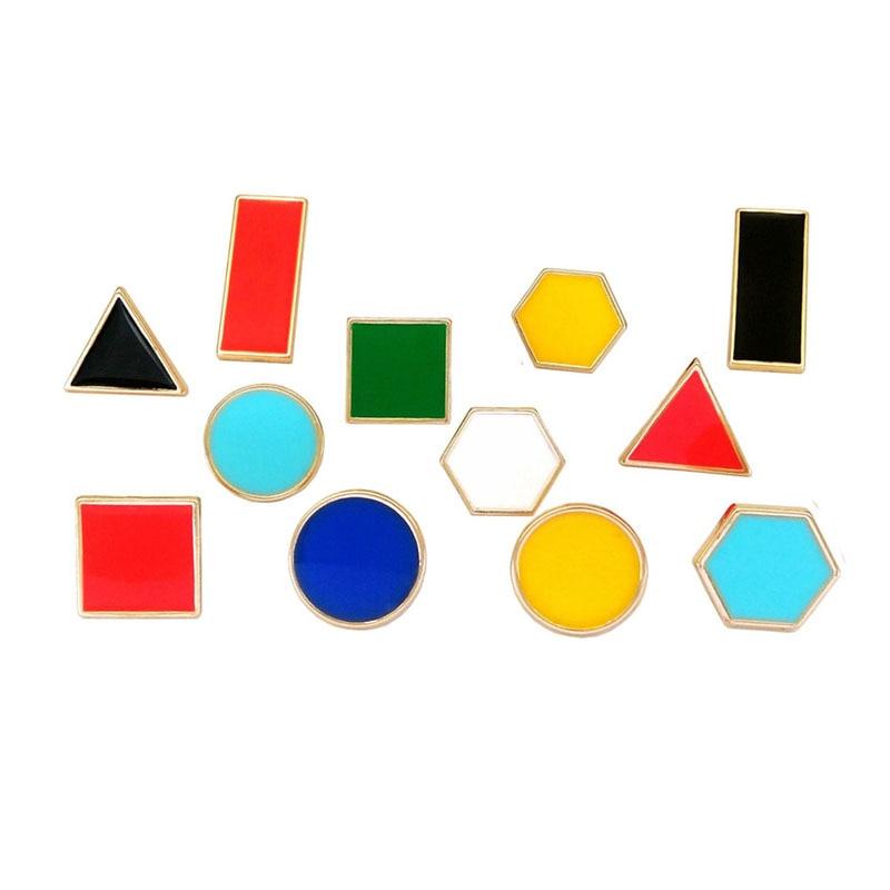 1 pçs vermelho azul verde vermelho amarelo branco preto retângulo redondo quadrado hexágono triângulo forma broches lapela pino jóias para crianças