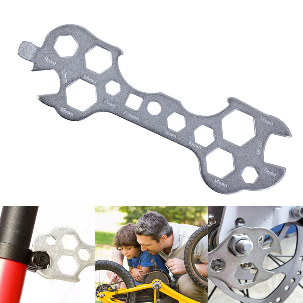 Porous Bicycle Wrench Bike Repair Tool Multitool Portable Wrench 8-15mm Hex Wrench Spanner Bicycle Repair Hand Tools