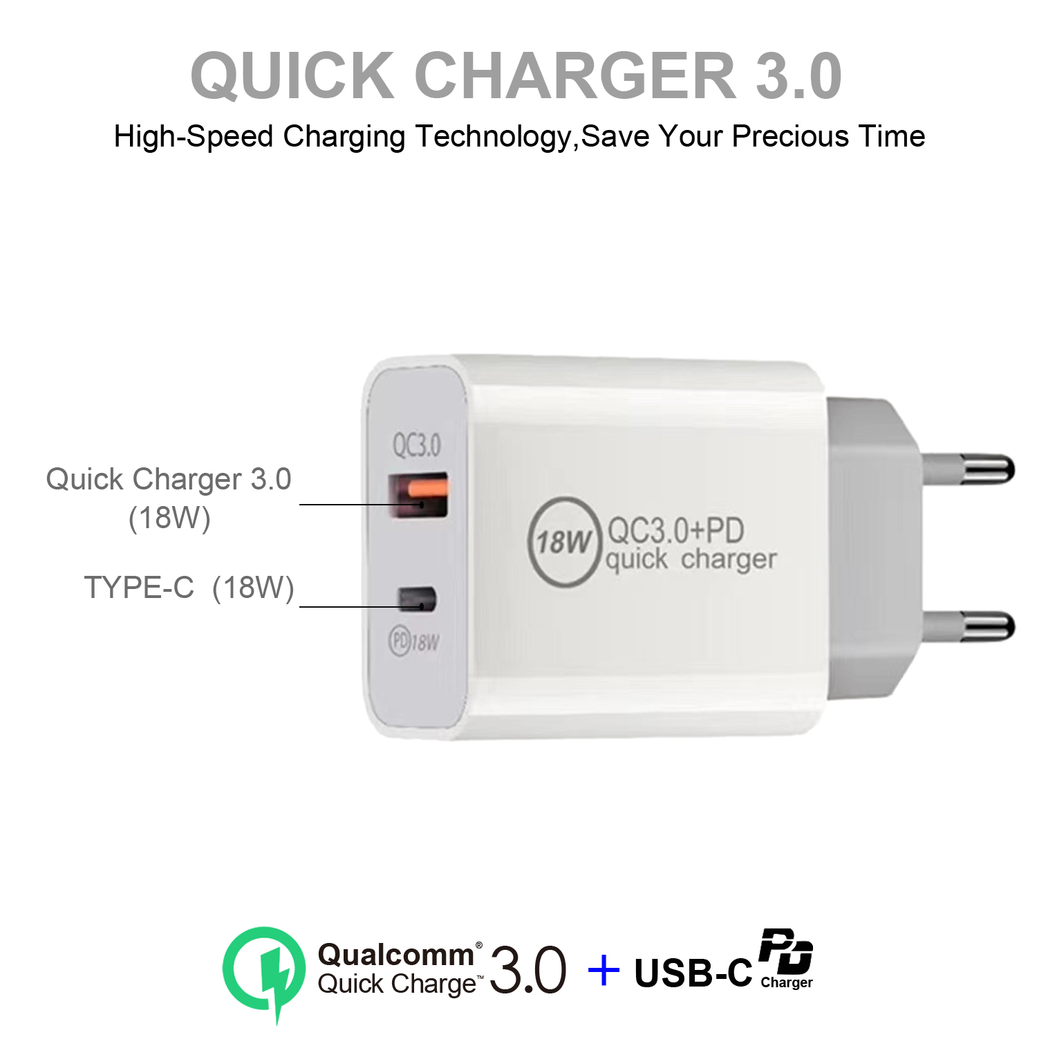 AIXXCO 18W Dual PD Charger Quick Charge QC 3.0 USB Charger For iPhone 11 Pro X Huawei P40 Samsung Xiaomi Travel Charger