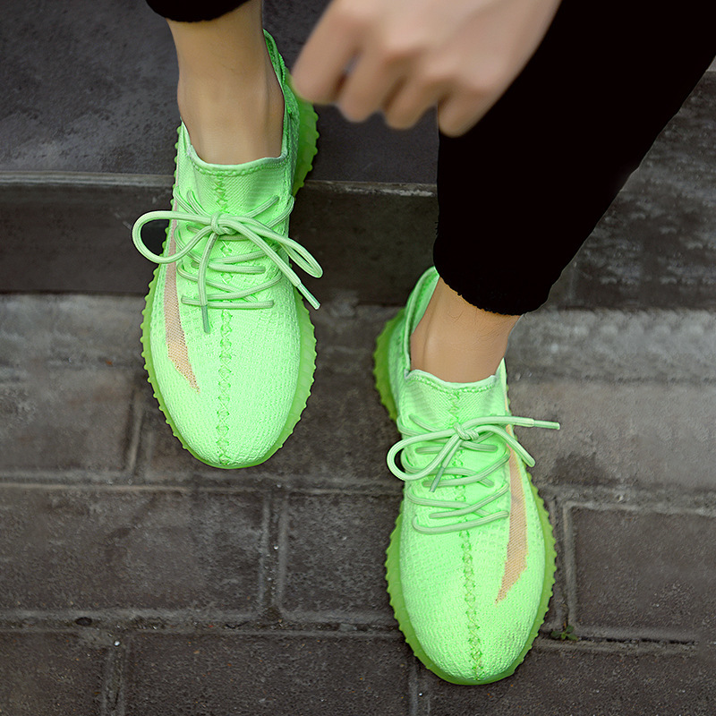 Spring New Women High Quality Sneakers Breathable Mesh Fluorescent Green Platform Sneakers Couple Shoes Dad Shoes