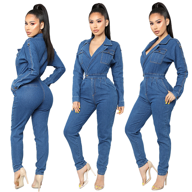 Womens Sexy V-Neck Bodycon Jumpsuit Overalls Club Bodysuit Slim Fit Playsuit Denim Jeans Suit Casual Clothing Trousers Pant New 1