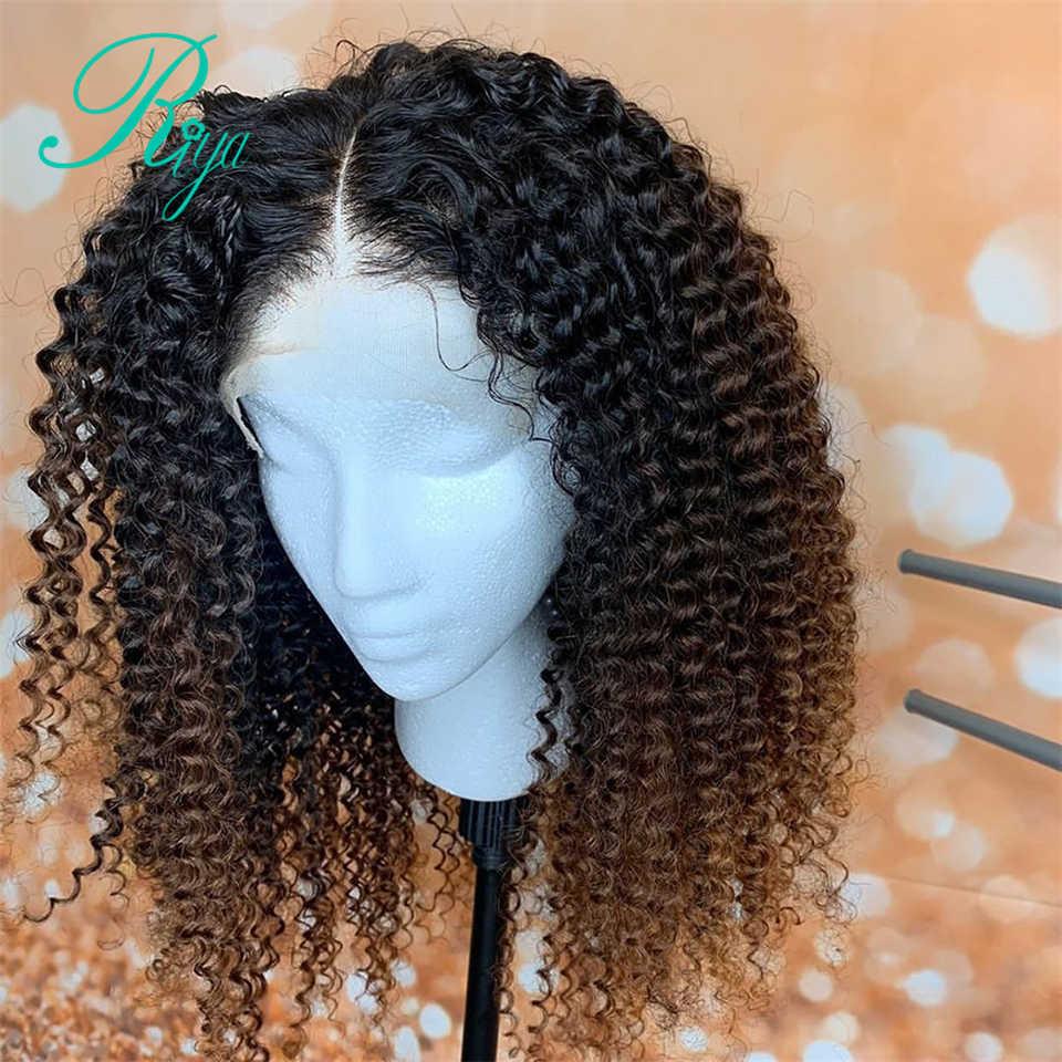 13X6 150% Peluca de encaje Frontal, peluca de cabello humano rubio miel Color degradado 360, pelucas de cabello humano con encaje rizado Frontal para mujeres negras, Remy brasileño
