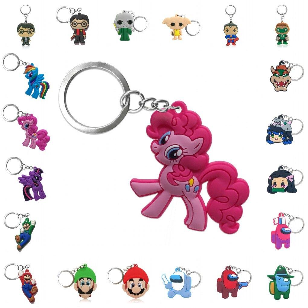 1pcs Cartoon Figure Pvc Keychain Key Ring key holder Toy Fashion Charms Trinkets t Trinkets Accessory Jewelry Key Chain