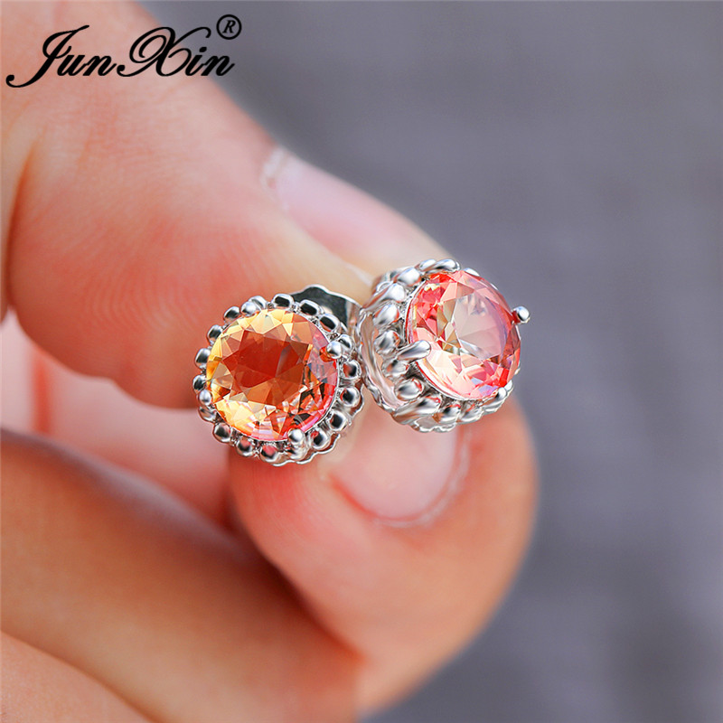 Mystic Pink Yellow Crystal Round Stud Earrings For Women White Gold Rose Gold Colorful Rainbow Fire Zircon Wedding Earrings CZ