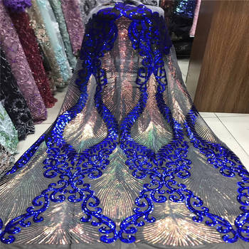 Popular luxury Nigeria African wedding blue sequin lace French embroidery tulle fabric heavy handmade sequin lace fabric