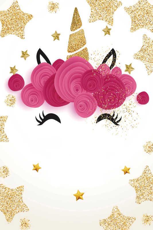 Laeacco Золотой Единорог день рождения Кукуруза звезда цветы плакат Детский портрет фото фоны фотосессия фотография фоны