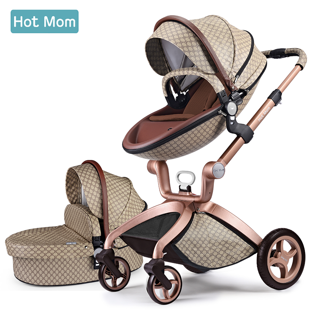 Hot Mom Baby Stroller 3 in 1 travel system High Land scape stroller with bassinet in 2019 Folding Carriage for Newborns baby in Four Wheels Stroller from Mother Kids