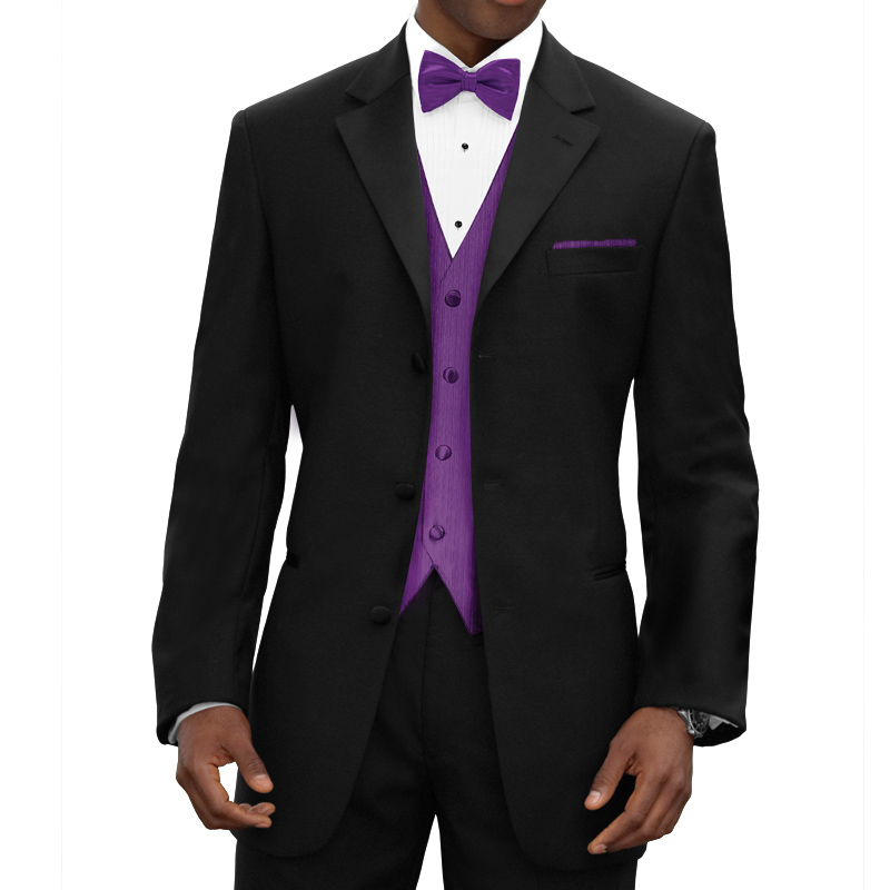 Three Piece Black Wedding Groomsmen Tuxedos 2018 Latest Classic Notched Lapel Custom Made Men Suits Purple Vest Jacket Pants