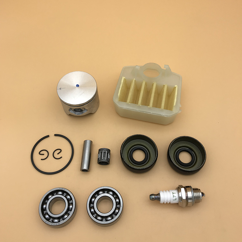 HUNDURE 42mm & 44mm Piston Crank Bearing Oil Seal Air Filter Kit For Husqvarna 340 345 350 Chainsaw Motor Engine Rebuild Parts