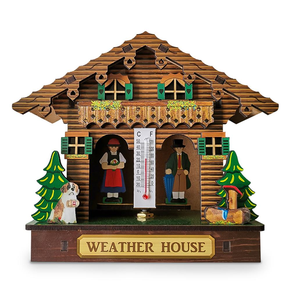 Weather Wood House Chalet Barometer Thermometer And Hygrometer Home Decoration Wall Hanging Ornaments