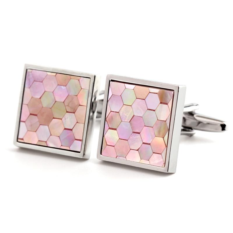 High Quality Pink Shell Cufflinks For Men&Women Trendy Jewelry Shirt Button CuffLinks Brand Popular Cufflinks Accessories