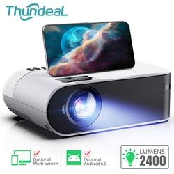 Thundal TD60 جهاز عرض صغير محمول واي فاي أندرويد 6.0 السينما المنزلية ل 1080P فيديو Proyector 2400 لومينز الهاتف فيديو ثلاثية الأبعاد متعاطي المخدرات