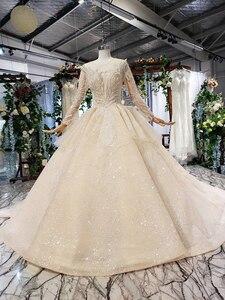 Image 2 - HTL627 luxury wedding dresses long sleeve o neck heavy handmake bead wedding gowns 2020 keyhole back vestido de novia con manga