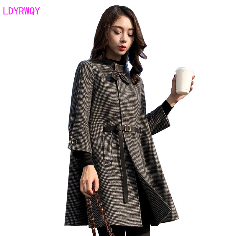 Image 5 - 2019 autumn new Korean womens splicing stand collar single  breasted seven point sleeves fresh and lovely long cloak wool coatWool