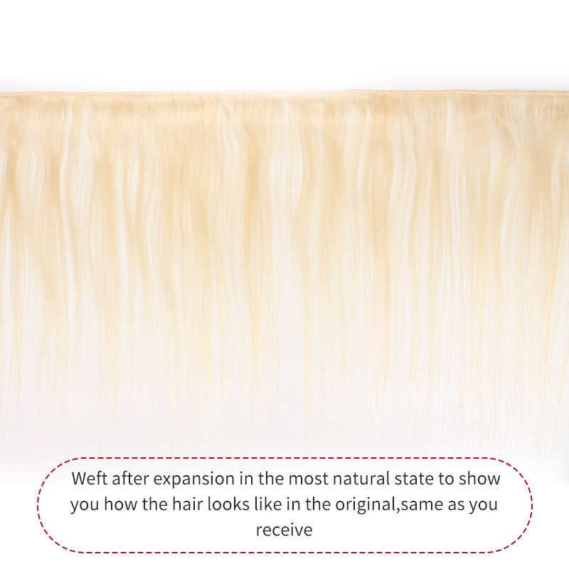 شعر طبيعي مفرود برازيلي ينسج مع الدانتيل إغلاق X-TRESS العسل شقراء 613 أومبير اللون غير ريمي الشعر البشري النسيج حزم