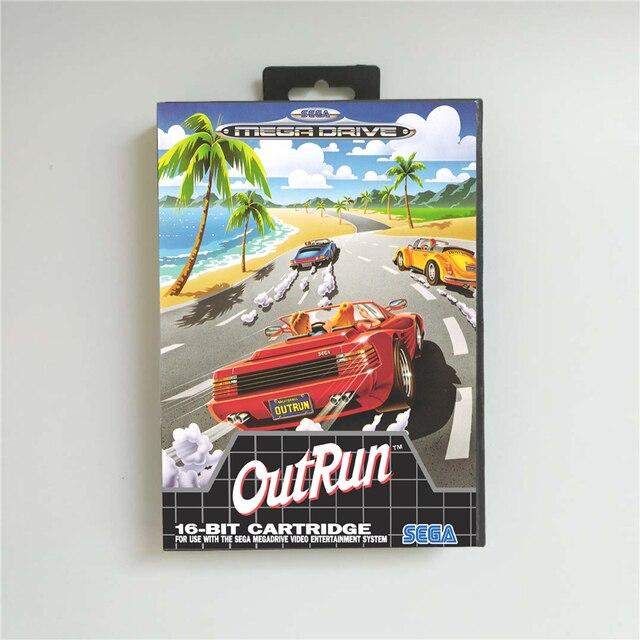 OutRun خارج تشغيل يورو غطاء مع صندوق البيع بالتجزئة 16 بت MD بطاقة الألعاب ل Megadrive نشأة لعبة فيديو وحدة التحكم