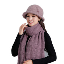 2 pieces Set New Winter Rabbit Fur Hat And Scarf For Women Thick Caps Female Solid Color Casual Mother Knitted Shawl