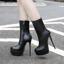 цены 15cm boots super high heels ladies waterproof sexy platform women boot shoes zipper brand walking show party large size 35-46