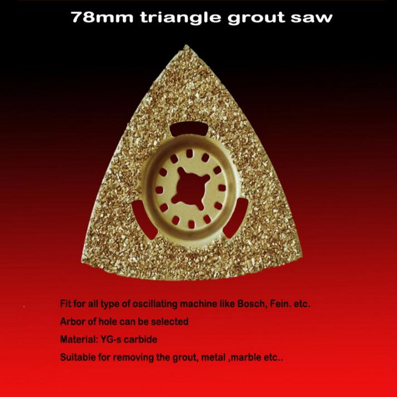Free Shipping Of Brazed TCT Carbide Triangle Grout Saw 78*78mm For Most Popular Brands Multifunctional Oscillating Machines