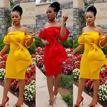 2019 Slash Neck Dress Women Bow Off Shoulder Sexy Red Yellow Autumn Bodycon Club Mid Dress Lantern Sleeve Summer DW264(China)