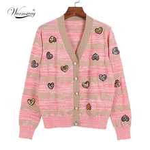 Women Casual Spring Knit Jacket V neck Pearl Button  Sweaters  Heart Sequins Print  Cute Knit Cardigans Top Female C-004
