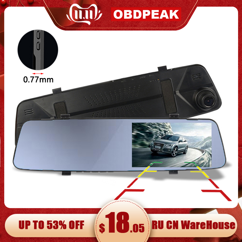 Car Dvr Camera 4.39 Inch Rearview Mirror HD 1080P Car Mirror Video Recorder With Rear View Camera Car Screen Mirror Dash Camera