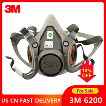 3M 6200 Gas Mask Spray Paint Decoration Chemical Dust Mask Protection Toxic Steam Filter Respirator Half Mask Fit for Filters