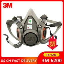Masque à gaz 3M 6200 avec peinture en aérosol, demi-masque, Protection contre la poussière chimique, filtre à vapeur toxique, respirateur, adapté aux filtres