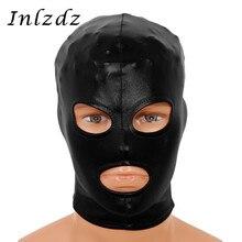Мужская и женская латексная маска, сексуальные головные уборы, блестящий металлический открытый головной убор для глаз и рта, полная маска ...