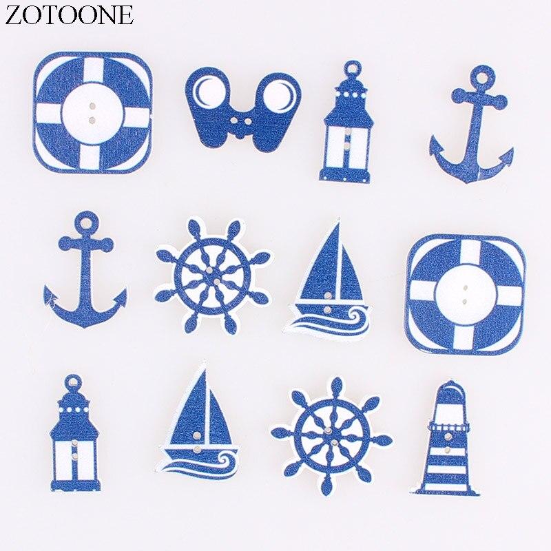 10 pcs sailing boats 2 Holes patterns cartoon Wood Sewing Button Scrapbooking 25