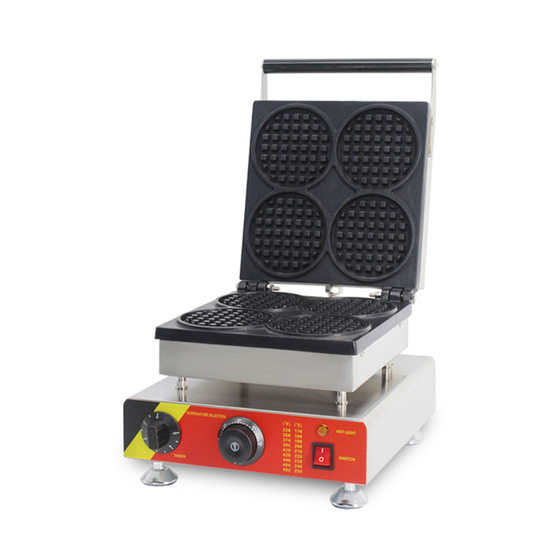 SUCREXU Commercial Electric 4pcs Mini Round Waffle Maker Baker Iron Machine CE 110V 220V Use