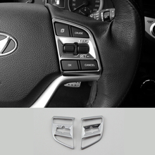 For Hyundai Tucson 2015 2016 2017 ABS Matte Car Steering wheel Button frame Cover Trim sticker Car Styling Accessories 2pcs