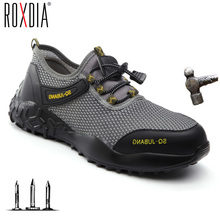 Steel Toe Industial Work Shoes for Men Women Breathable Lightweight Mesh Safety Construction shoes Plus size 37-48 ROXDIA RXM175