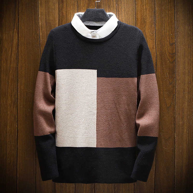 Mens Sweaters 2019 Winter New Fashion Fake Two Casual Sweater Men's Youth Long Sleeve Sweaters Men Clothing