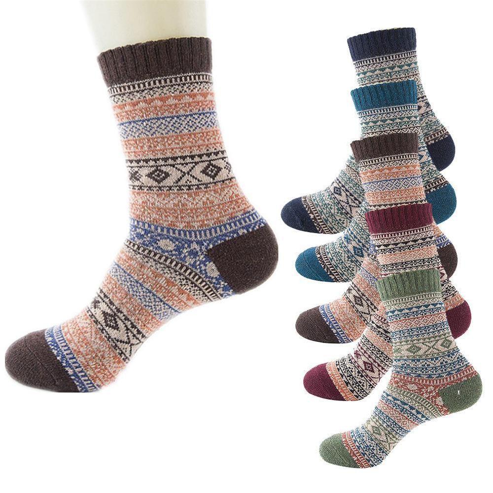 1Pair Men Retro Wool Cashmere Design Warm Socks Ethnic Style Winter Thick Thermal Middle Tube Socks Men Winter Casual Socks
