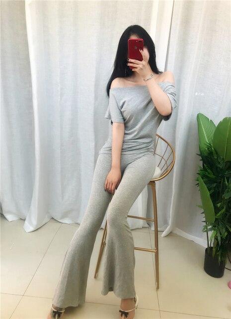 SEXY 2 Piece Sets Womens Outfits Spring Summer Women T Shirt High Waist Pants Wide Leg Womens Long Trousers Two Piece Set Grey 4