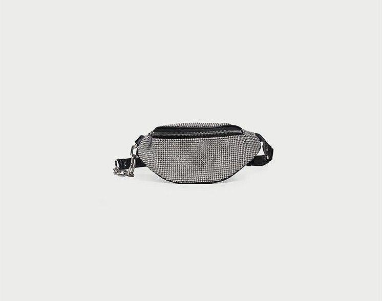 Genuine Leather Crystal Women Belt Bag Bling Bling Waist Packs