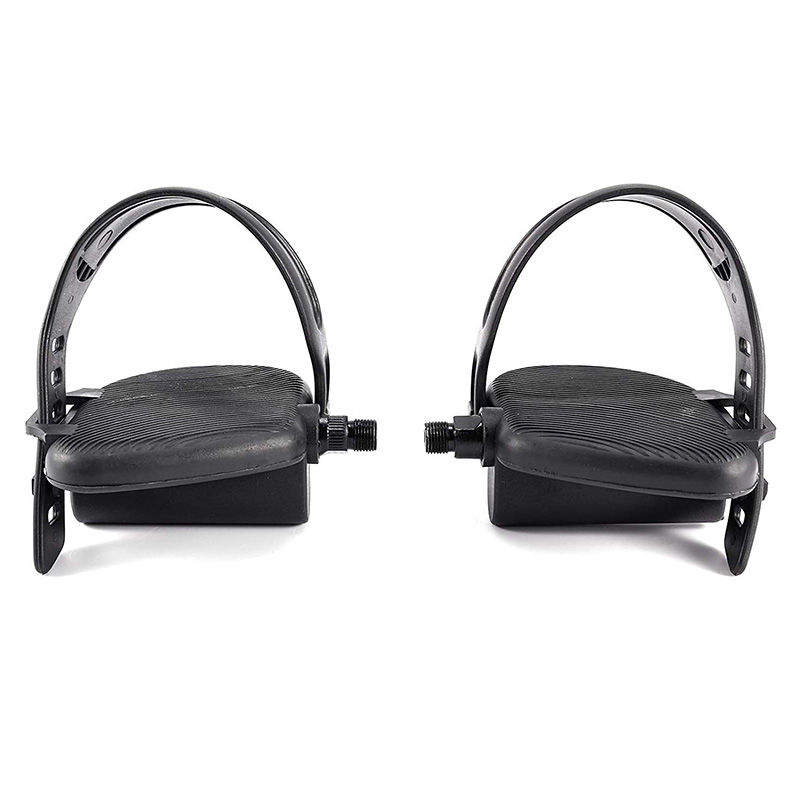 2 Pair Thread Exercise Bike Pedals with Adjustable Bicycle Widened Straps for Sports Cycling Home Gym Bicycle