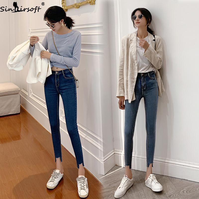 New Elastic Thin Skinny Comfortable Feet Jeans Mujer Woman Fashion Trend Button Zipper Cotton High Waist Women Denim Pants Jean in Jeans from Women 39 s Clothing