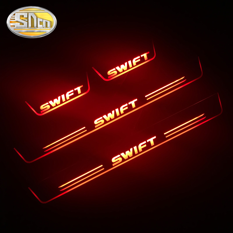 SNCN 4PCS Acrylic Moving LED Welcome Pedal Car Scuff Plate Pedal Door Sill Pathway Light For Suzuki Swift 2015 2016 2017 2018|Car Stickers| |  -
